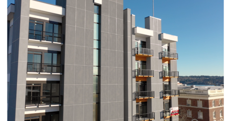Prefabricated panels on office building